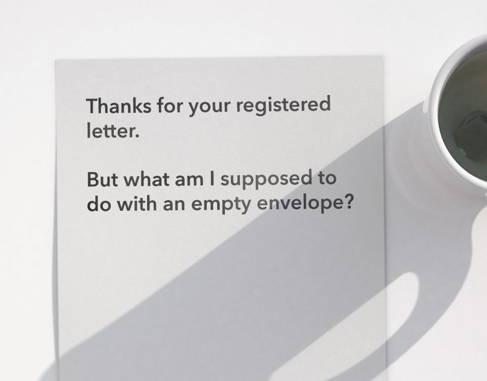 Eingeschriebener Brief ohne Nachweis über den Inhalt